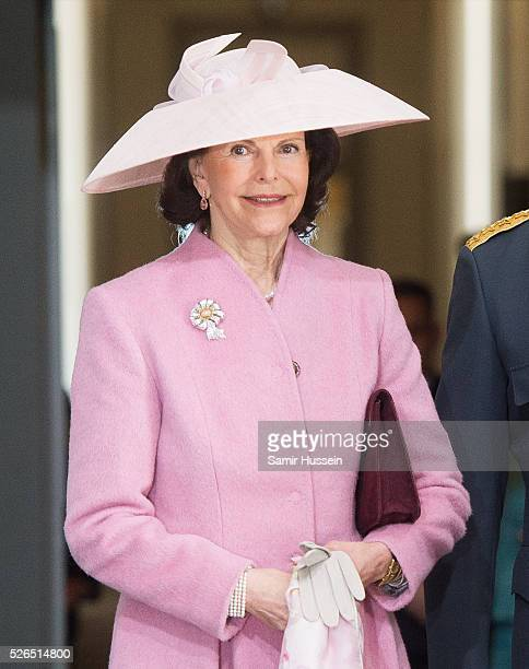 Queen Silvia of Sweden arrives at the Royal Palace to attend Te Deum Thanksgiving Service to celebrate the 70th birthday of King Carl Gustaf of...