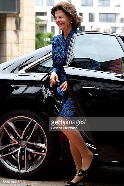 Queen Silvia Of Sweden arrives for her visit at North RhineWestphalia Landtag on May 24 2016 in Duesseldorf Germany