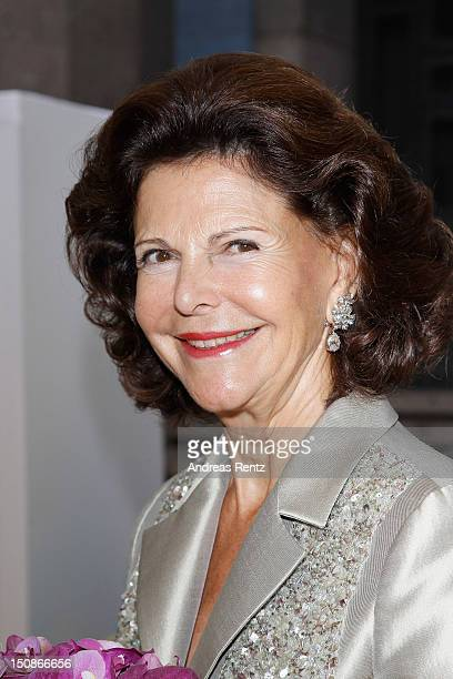 Queen Silvia of Sweden arrives for the Polar Music Prize at Konserthuset on August 28 2012 in Stockholm Sweden