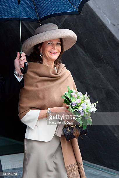 Queen Silvia of Sweden arrives with Queen Margrethe II of Denmark at the Ordrupgaard Museum in Charlottenlund on May 11 2007 near Copenhagen Sweden...