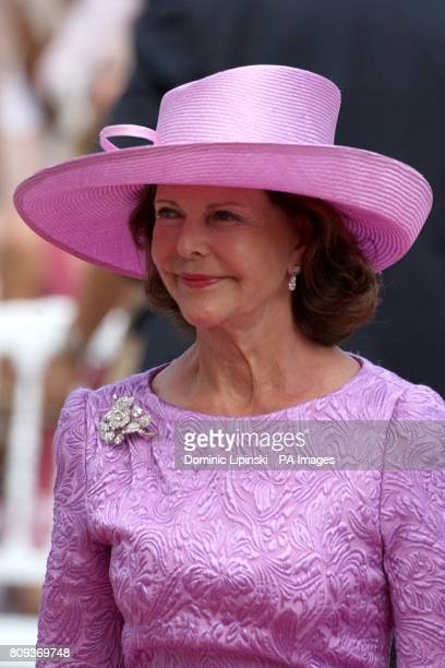 Queen Silvia Of Sweden arriving for the wedding of Prince Albert II of Monaco and Charlene Wittstock at the Place du Palais