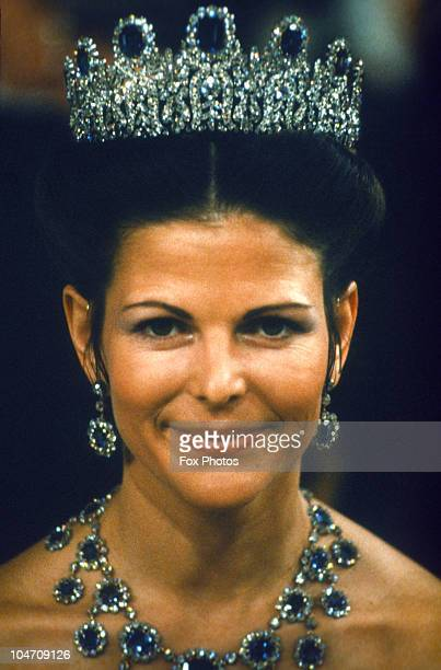 Queen Silvia of Sweden at the Nobel Prize Ceremony held in Stockholm on December 10, 1978.