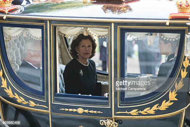 Queen Silvia of Sweden attends a ceremony at Riksdag in connection with the opening session of the Swedish parliament on September 13, 2016 in...