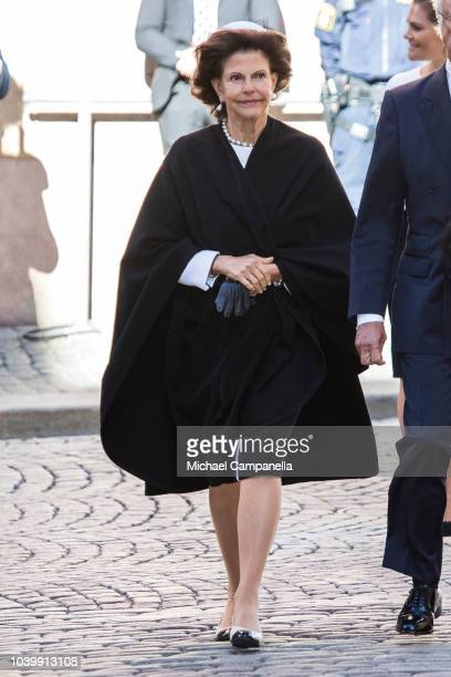 Queen Silvia of Sweden attends a church service at the Stockholm Cathedral in connection with the opening of the Swedish parliamentary session on...