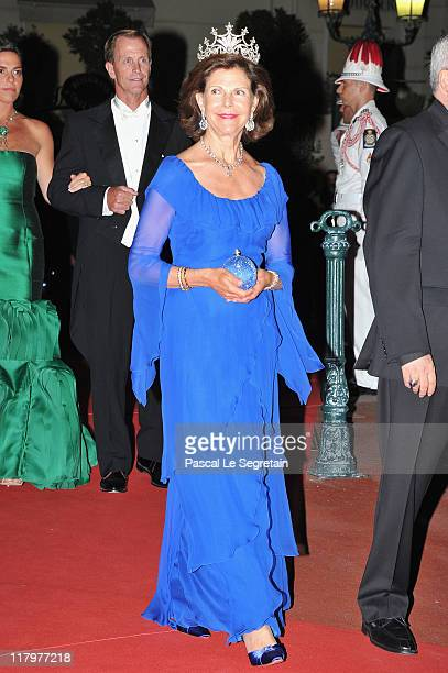 Queen Silvia of Sweden attends a dinner at Opera terraces after the religious wedding ceremony of Prince Albert II of Monaco and Princess Charlene of...