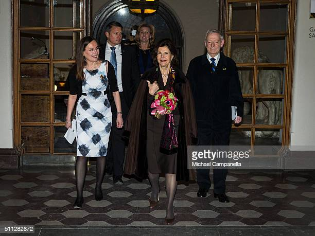 Queen Silvia of Sweden attends a formal gathering at the Royal Swedish Academy of Fine Arts on February 19, 2016 in Stockholm, Sweden.