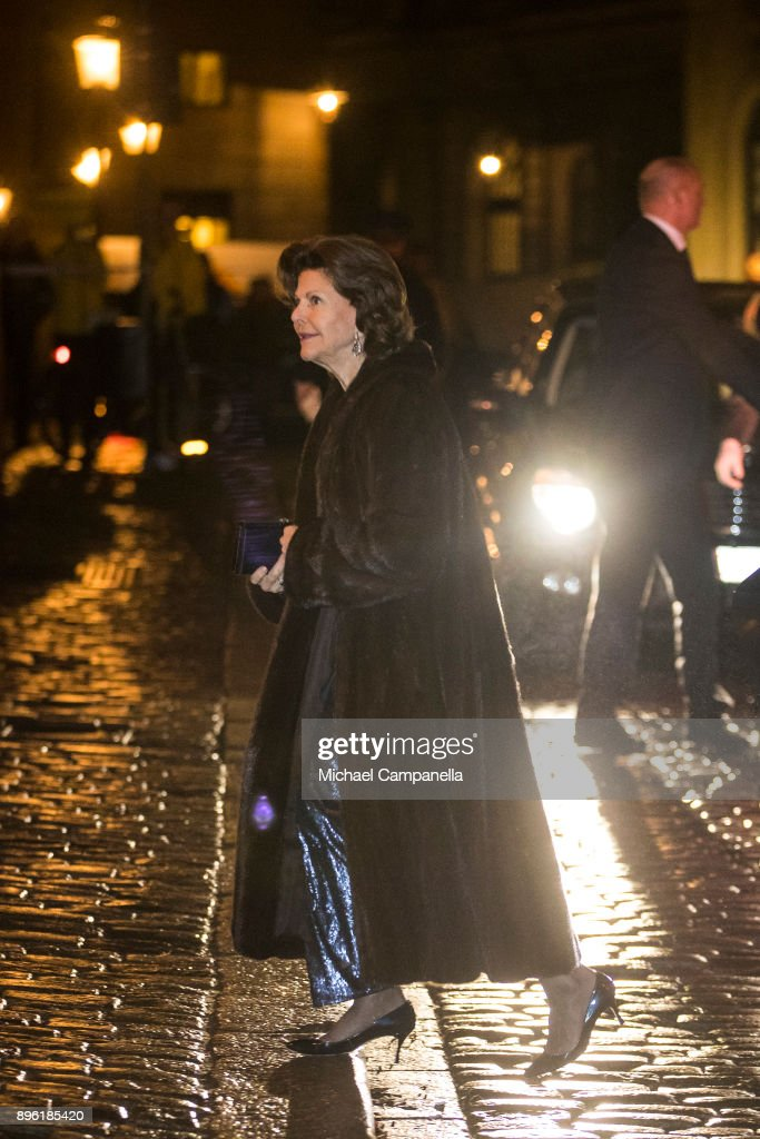 Queen Silvia of Sweden attends a formal gathering at the Swedish Academy on December 20, 2017 in Stockholm, Sweden.