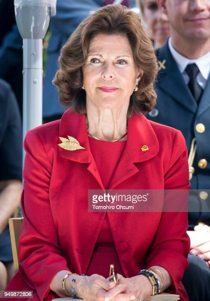 Queen Silvia of Sweden attends an event at the Embassy of Sweden on April 22, 2018 in Tokyo, Japan. King Carl Gustav and Queen Silvia of Sweden are...