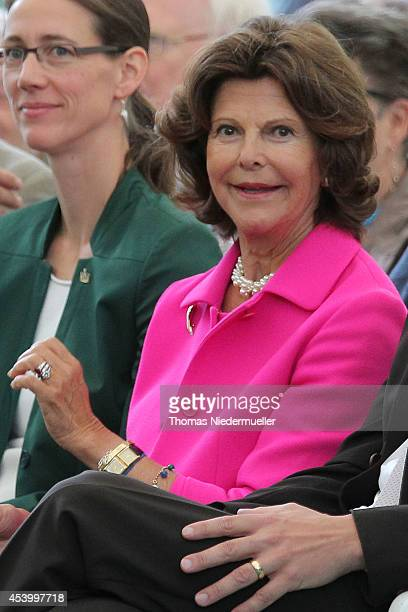 Queen Silvia of Sweden attends an event in connection with the 15th anniversary of World Childhood Foundation at Island Mainau on August 23 2014 in...