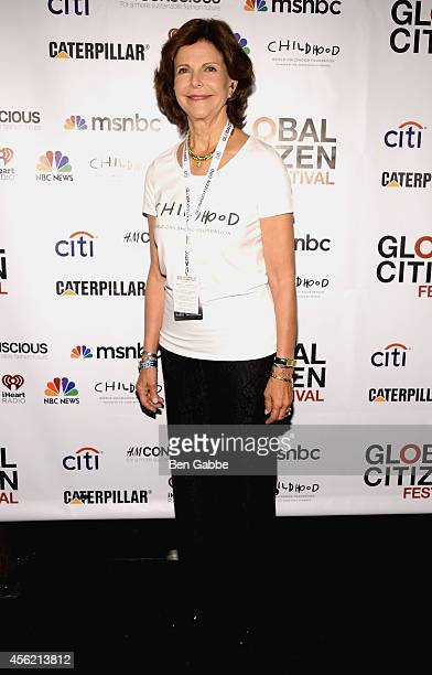 Queen Silvia of Sweden attends the 2014 Global Citizen Festival to end extreme poverty by 2030 at Central Park on September 27 2014 in New York City