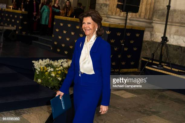Queen Silvia of Sweden attends the Global Child Forum 2018 at the Stockholm Palace on April 11 2018 in Stockholm Sweden
