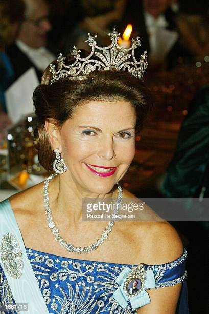 Queen Silvia of Sweden attends the Nobel Banquet at City Hall on December 10 2002 in Stockholm Sweden