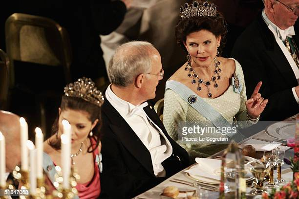 Queen Silvia of Sweden attends the Nobel Banquet at City Hall on December 10, 2004 in Stockholm, Sweden. The prizes were being awarded at...