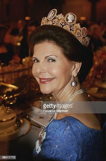 Queen Silvia of Sweden attends the Nobel Banquet at the Stockholm City Hall on December 10, 2005 in Stockholm, Sweden.