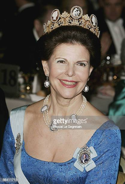 Queen Silvia of Sweden attends the Nobel Banquet at the Stockholm City Hall on December 10 2005 in Stockholm Sweden