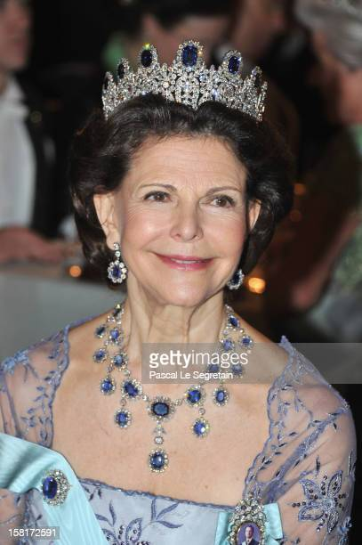 Queen Silvia of Sweden attends the Nobel Banquet at Town Hall on December 10 2012 in Stockholm Sweden