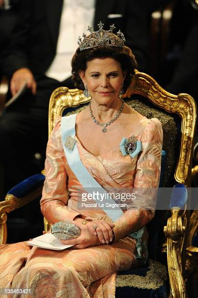 Queen Silvia of Sweden attends the Nobel Prize Award Ceremony at Stockholm Concert Hall on December 10 2011 in Stockholm Sweden