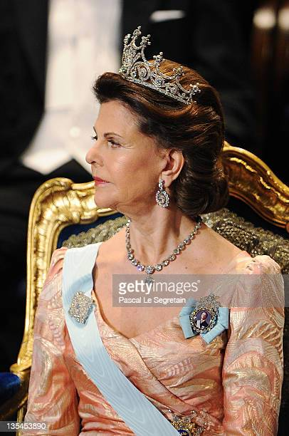 Queen Silvia of Sweden attends the Nobel Prize Award Ceremony at Stockholm Concert Hall on December 10 2011 in Stockholm Sweden