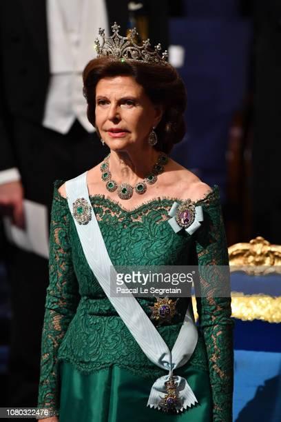 Queen Silvia of Sweden attends the Nobel Prize Awards Ceremony at Concert Hall on December 10 2018 in Stockholm Sweden