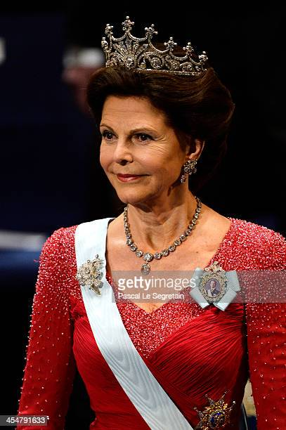 Queen Silvia of Sweden attends the Nobel Prize Awards Ceremony at Concert Hall on December 10 2013 in Stockholm Sweden
