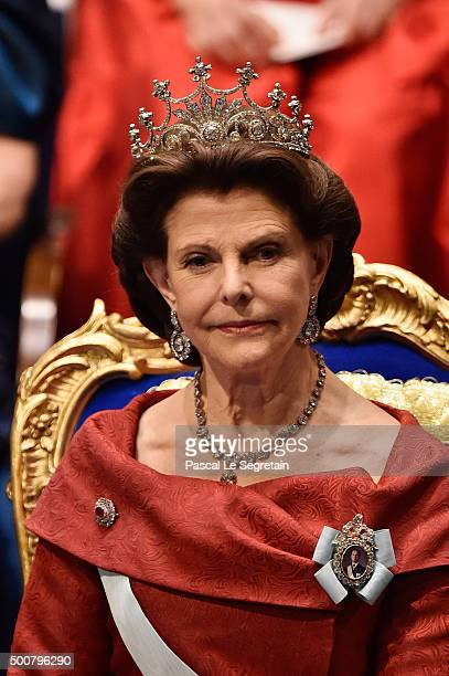 Queen Silvia of Sweden attends the Nobel Prize Awards Ceremony at Concert Hall on December 10 2015 in Stockholm Sweden