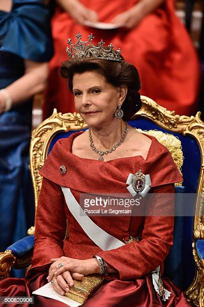 Queen Silvia of Sweden attends the Nobel Prize Awards Ceremony at Concert Hall on December 10 2015 in Stockholm Sweden