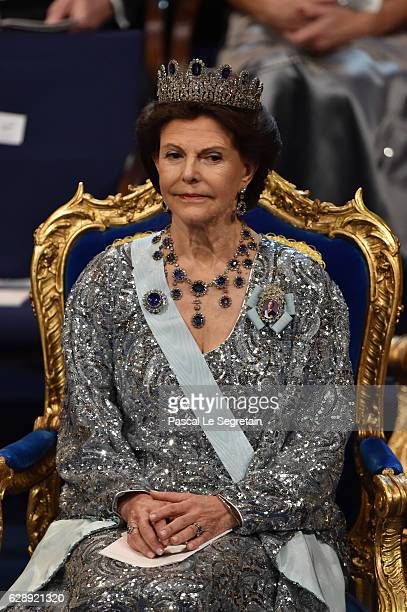 Queen Silvia of Sweden attends the Nobel Prize Awards Ceremony at Concert Hall on December 10 2016 in Stockholm Sweden