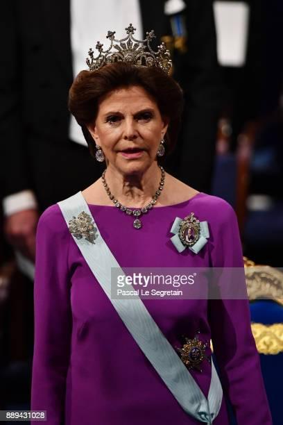 Queen Silvia of Sweden attends the Nobel Prize Awards Ceremony at Concert Hall on December 10 2017 in Stockholm Sweden