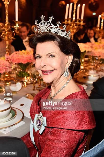Queen Silvia of Sweden attends the Nobel Prize Banquet 2015 at City Hall on December 10 2015 in Stockholm Sweden