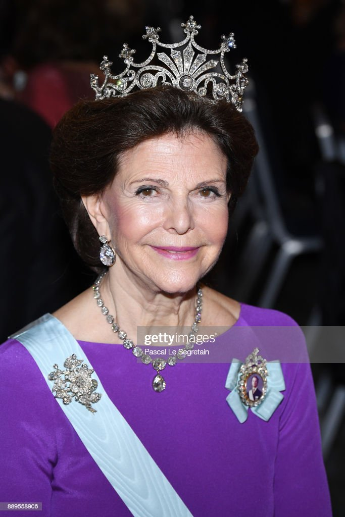 Queen Silvia of Sweden attends the Nobel Prize Banquet 2017 at City Hall on December 10, 2017 in Stockholm, Sweden.