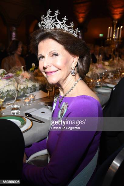 Queen Silvia of Sweden attends the Nobel Prize Banquet 2017 at City Hall on December 10 2017 in Stockholm Sweden