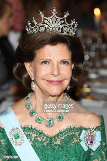 Queen Silvia of Sweden attends the Nobel Prize Banquet 2018 at City Hall on December 10 2018 in Stockholm Sweden