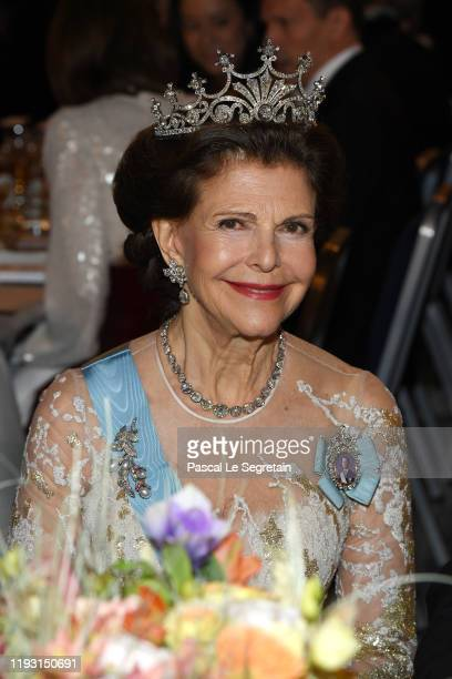 Queen Silvia of Sweden attends the Nobel Prize Banquet 2018 at City Hall on December 10 2019 in Stockholm Sweden