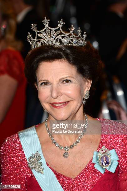Queen Silvia of Sweden attends the Nobel Prize Banquet after the 2013 Nobel Prize Awards Ceremony at City Hall on December 10, 2013 in Stockholm,...