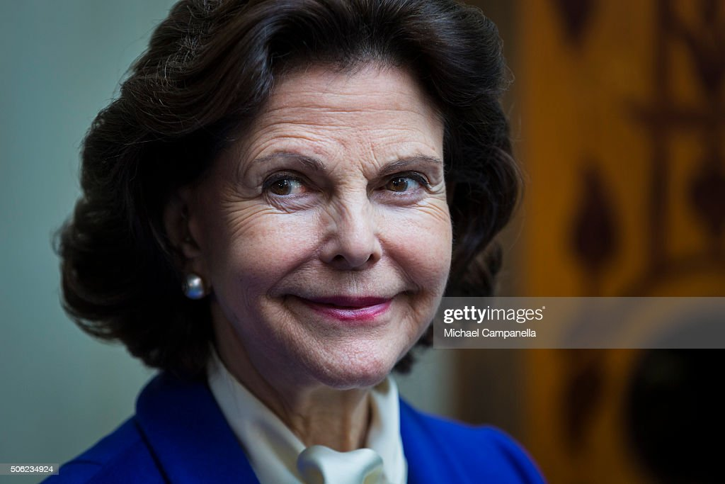 Queen Silvia of Sweden attends the opening of the exhibition 'In Course of Time, 400 Years Of Royal Clocks' at the Royal Palace on January 22, 2016 in Stockholm, Sweden.