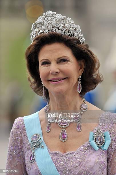 Queen Silvia of Sweden attends the wedding of Crown Princess Victoria of Sweden and Daniel Westling on June 19 2010 in Stockholm Sweden