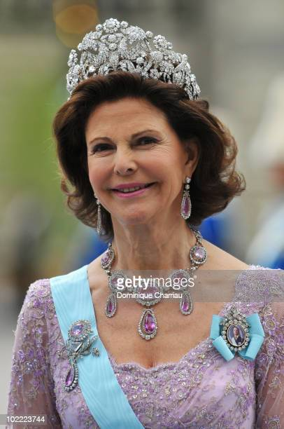 Queen Silvia of Sweden attends the wedding of Crown Princess Victoria of Sweden and Daniel Westling on June 19, 2010 in Stockholm, Sweden.