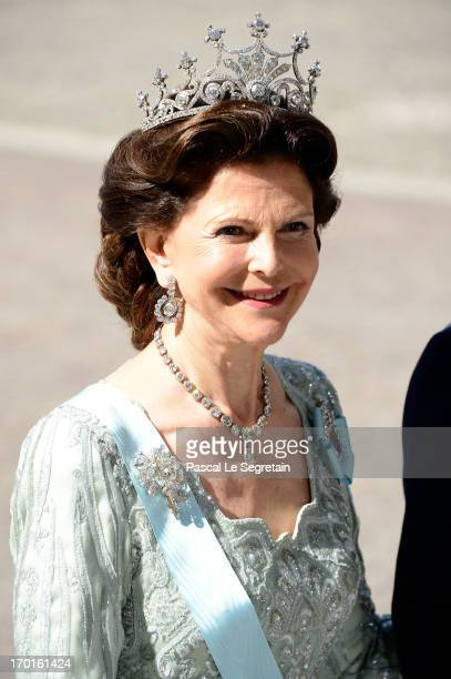Queen Silvia of Sweden attends the wedding of Princess Madeleine of Sweden and Christopher O'Neill hosted by King Carl Gustaf XIV and Queen Silvia at...