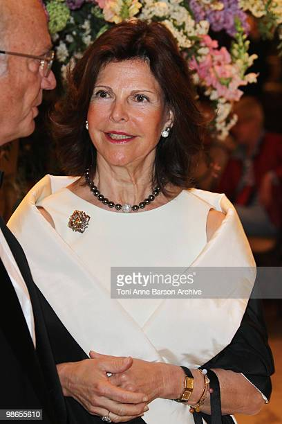 Queen Silvia of Sweden attends The World Scout Diner at Hotel de Paris on April 24 2010 in MonteCarlo Monaco