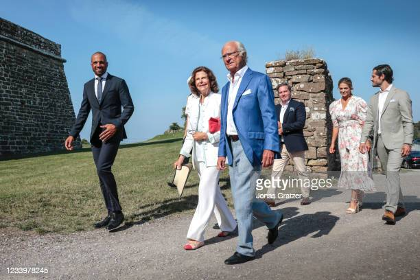 Queen Silvia of Sweden, Carl XVI Gustaf, King of Sweden, Christopher O'Neill, Princess Madeleine of Sweden and Prince Carl Philip, Duke of Varmland...