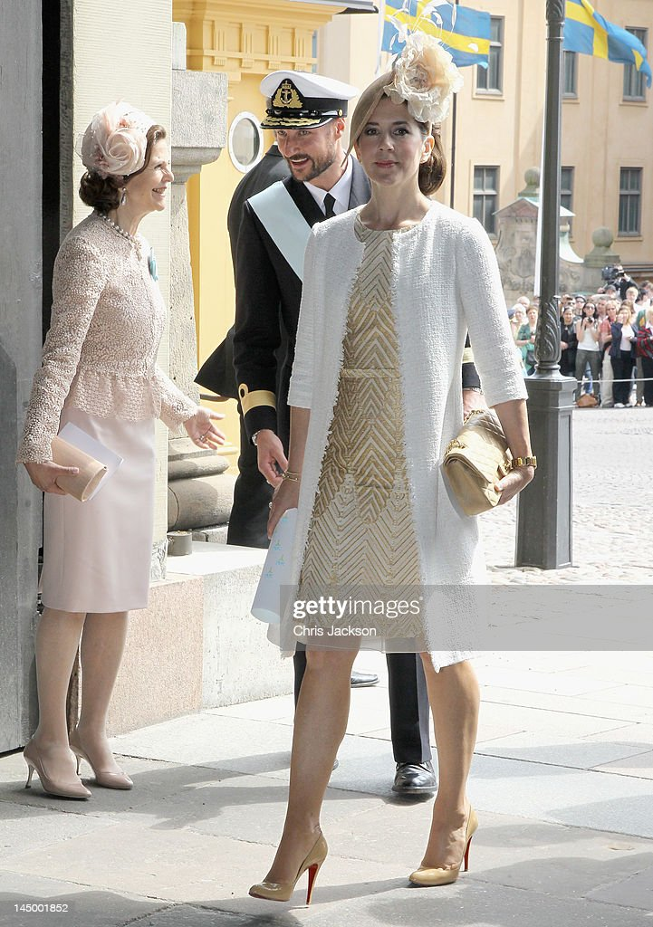 Queen Silvia of Sweden, Crown Princess Mary of Denmark and Crown Prince Haakon of Norway attend the christening of new Swedish heir to the throne Princess Estelle Silvia Ewa Mary of Sweden at The Royal Palace on May 22, 2012 in Stockholm, Sweden.