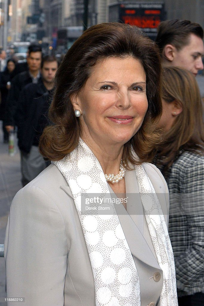 Queen Silvia of Sweden during Queen Silvia of Sweden and Mark Ruffalo Outside 'Good Morning America' Studios at 'Good Morning America' Studios in New York City, New York, United States.