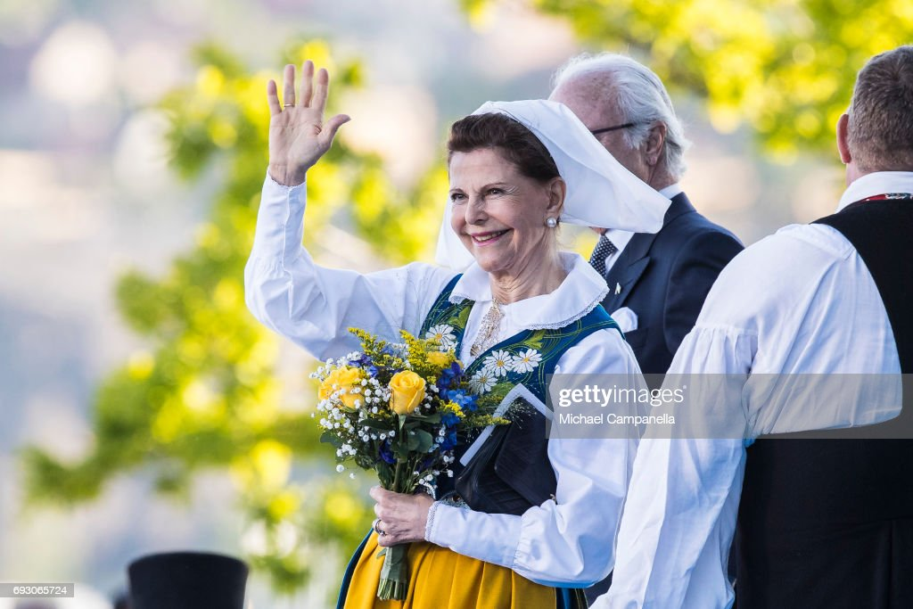 Queen Silvia of Sweden during the national day celebrations at Skansen on June 6, 2017 in Stockholm, Sweden.