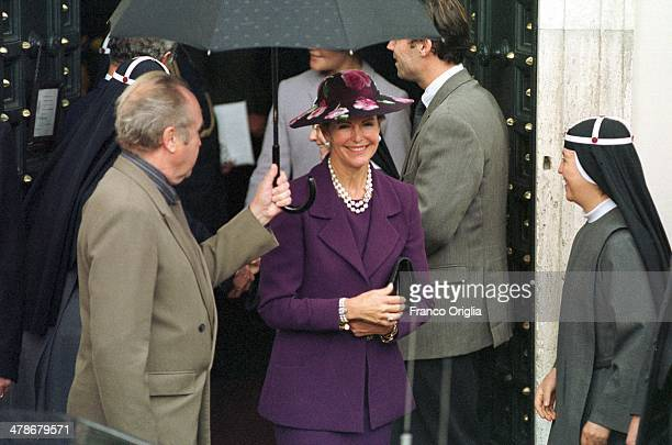 Queen Silvia of Sweden greets a nun at the Swedish church of St Brigid on an official visit to Rome on November 13 1999 in Rome Italy