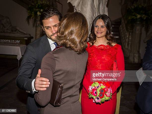 Queen Silvia of Sweden greets Princes Carl Philip and Princess of Sofia of Sweden while attending at formal gathering at the Royal Swedish Academy of...