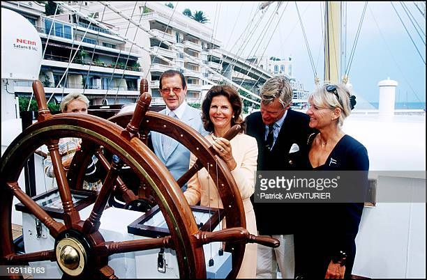 Queen Silvia Of Sweden Inaugurates The Royal Clipper The Largest Sailboat Of The World In Monaco On July 28Th 2000 In Monaco Monaco Roger Moore Queen...