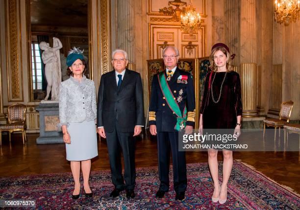 Queen Silvia of Sweden Italian President Sergio Mattarella King Carl XVI Gustaf of Sweden and the daughter of the Italian President Laura Mattarella...