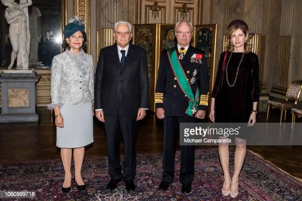 Queen Silvia of Sweden Italian President Sergio Mattarella King Carl XVI Gustaf of Sweden and Laura Mattarella pose for a picture at the Stockholm...