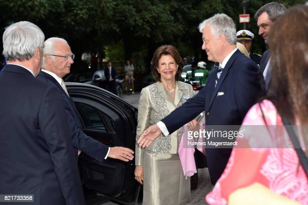 Queen Silvia of Sweden King Carl XVI Gustaf of Sweden and Helmut Pauli arrive before the 'Arena di Verona' Concert starts in the Herkulessaal at...