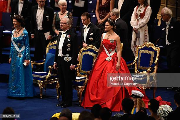 Queen Silvia of Sweden King Carl XVI Gustaf of Sweden Prince Daniel of Sweden and Crown Princess Victoria of Sweden attend the Nobel Prize Awards...